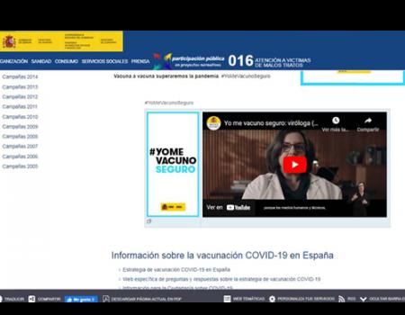 #YomeVacunoSeguro, lema de la campaña del Ministerio de Sanidad que persigue reforzar la confianza en la seguridad de las vacunas