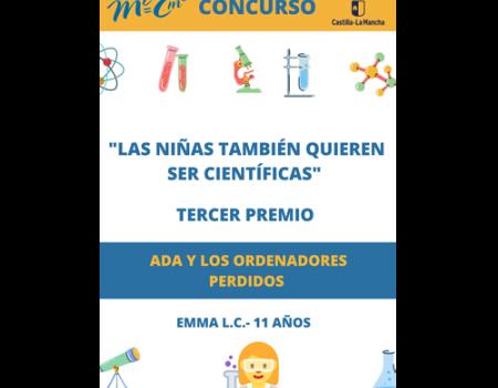 La alumna Enma Linares Caro del colegio Miguel de Cervantes comparte el tercer premio del concurso de relatos escolar 'Las niñas también quieren ser científicas'