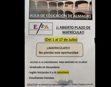 Abierto el plazo de matrícula para el aula de educación de adultos de Almagro