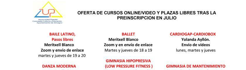 La Universidad Popular oferta los cursos de actividad física de forma telemática o por vídeo