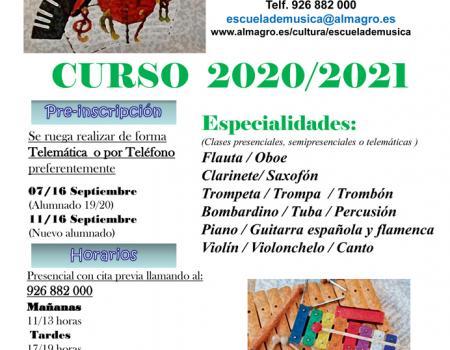 Curso 2020 /2021 - PREINSCRIPCIÓN ESCUELA DE MÚSICA