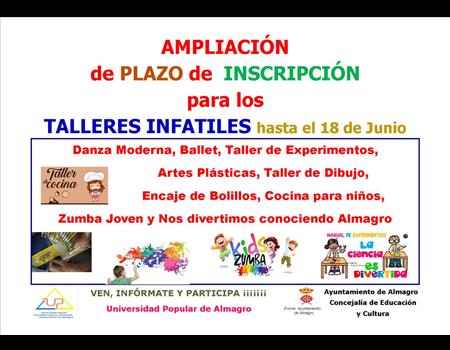 Ampliación de plazo de inscripción para talleres infantiles