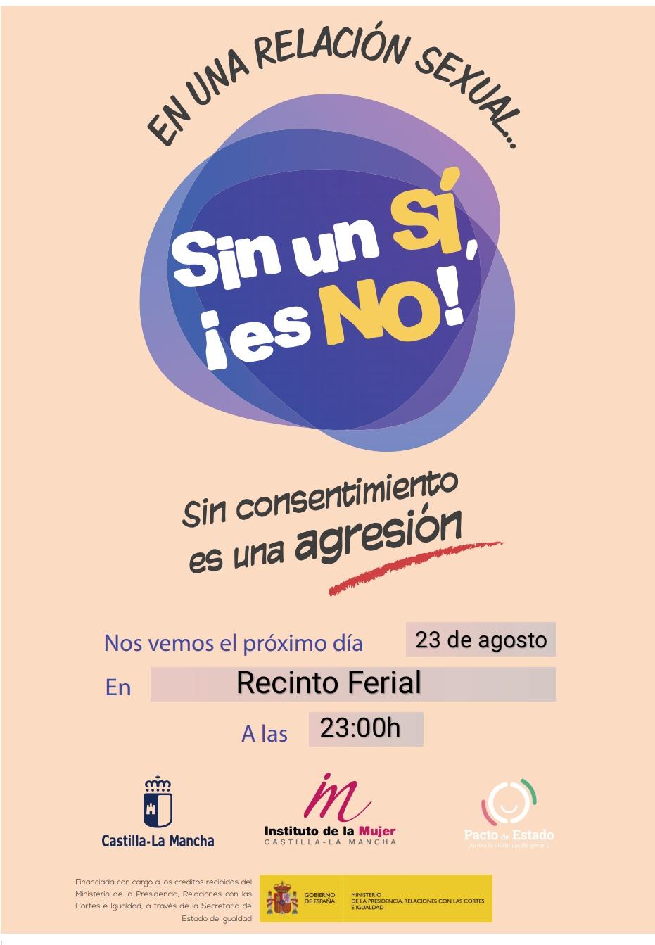 """El Instituto de la Mujer de Castilla-La Mancha acerca a Almagro la campaña """"Sin un si, ¡es NO!"""""""