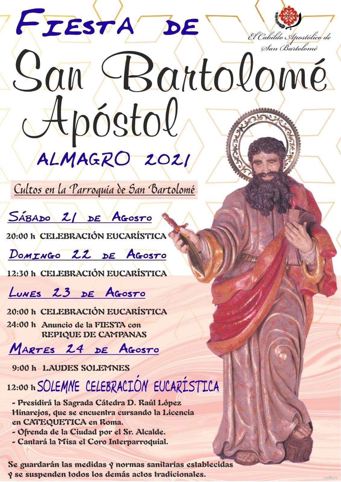 El Cabildo Apostólico de San Bartolomé informa de los actos litúrgicos en honor del patrón de Almagro