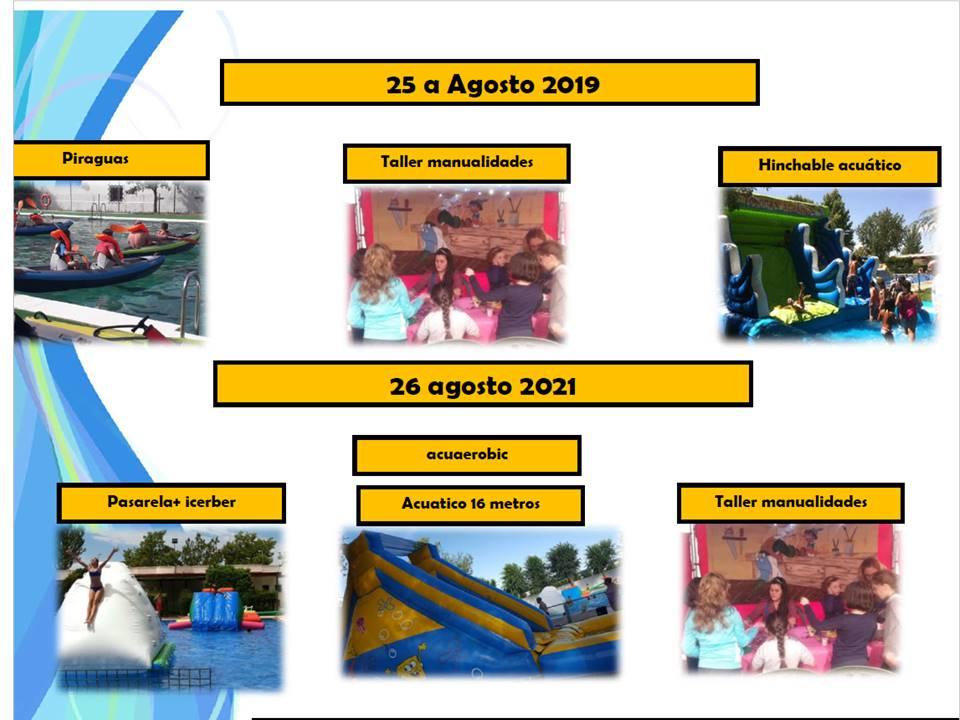 Actividades infantiles en la piscina durante la Feria