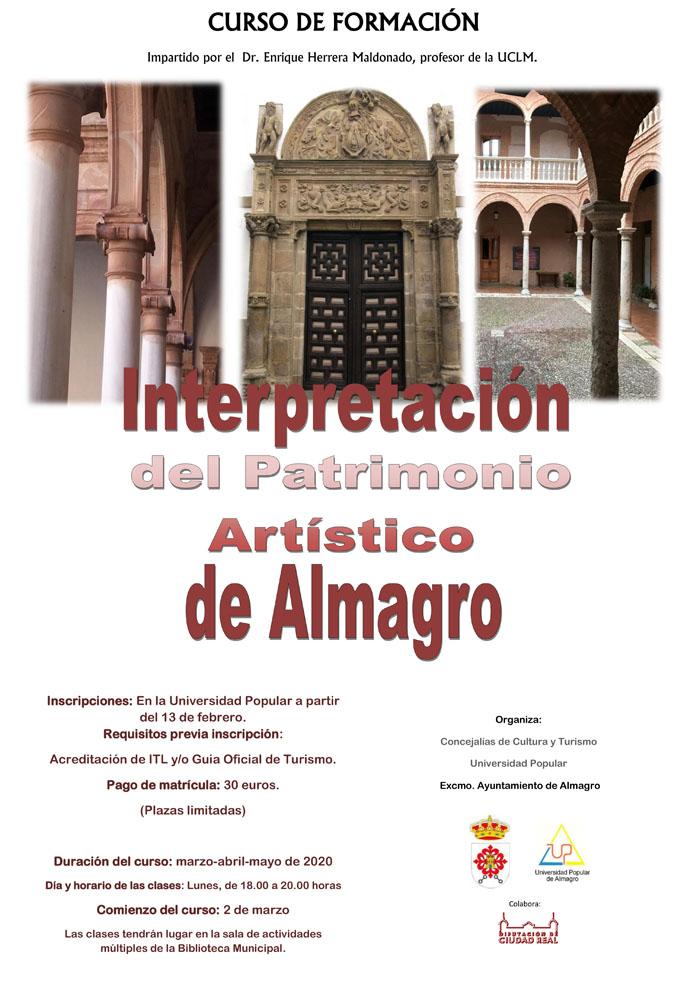 Abierto el plazo de inscripción del curso Interpretación del Patrimonio Artístico de Almagro