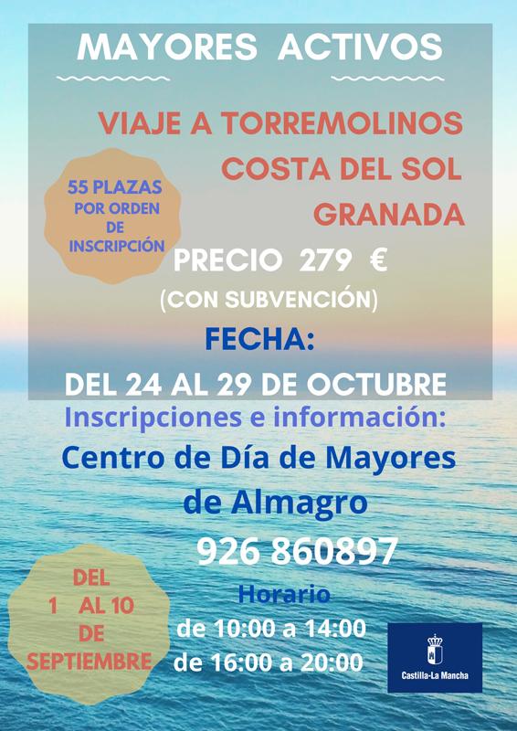 El centro de día de mayores organiza un viaje a la costa del Sol y Granada
