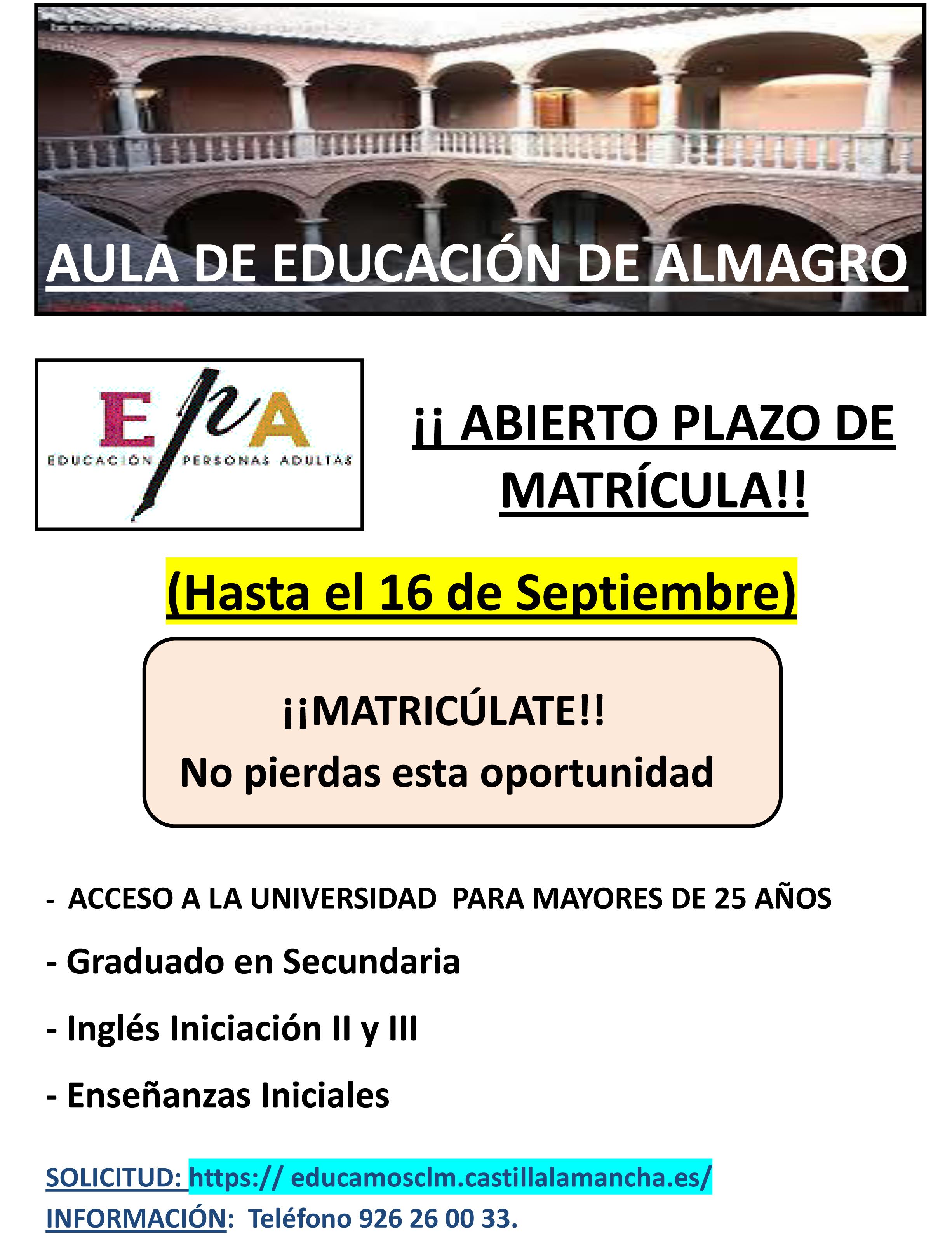 Abierto el plazo de matrícula para el Aula de Educación de Adultos