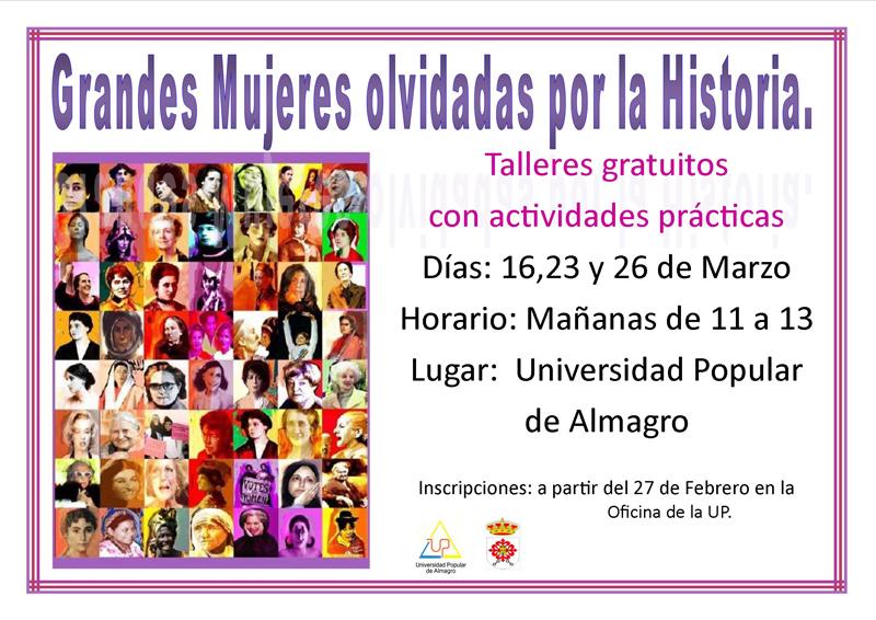 POSPUESTO.Taller gratuito Grandes Mujeres olvidadas de la Historia